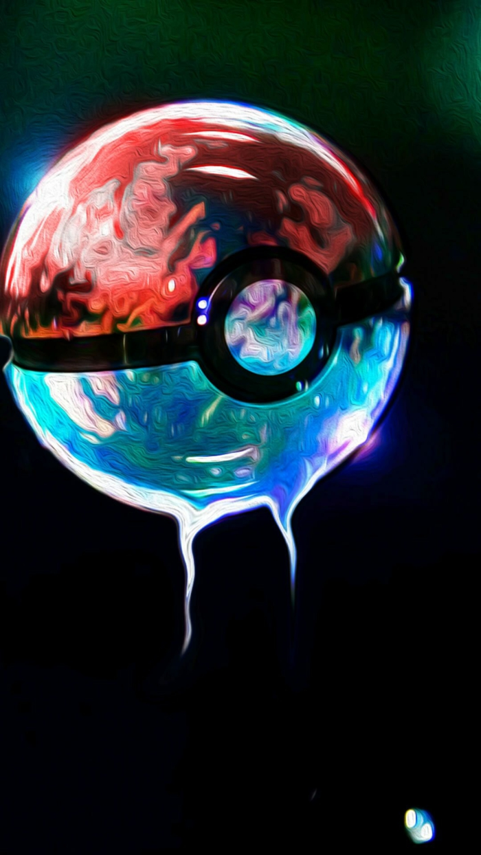red and blue pokeball from pokemon, best iphone backgrounds, black background