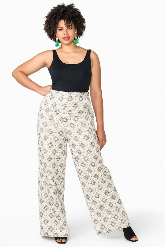 black open toe shoes, black top, womens business casual clothing, white printed wide fit trousers