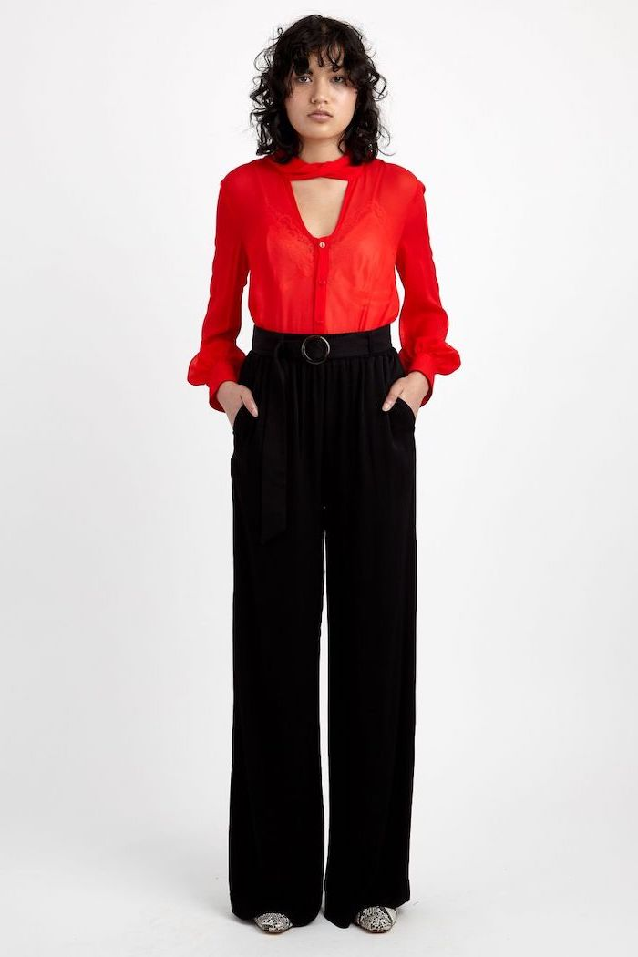 red shirt, casual wear for women, black wide fit trousers, black bels, white and black pointed shoes