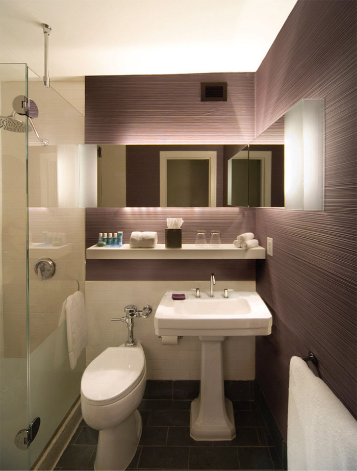 purple tiled walls, black tiled floor, bathroom ideas for small bathrooms, floating white shelf