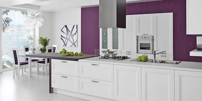 purple walls, purple chairs, white kitchen island, kitchen cabinets pictures, white wooden floor