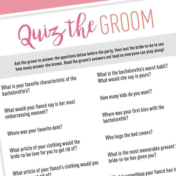quiz the groom game, what is a bachelorette party