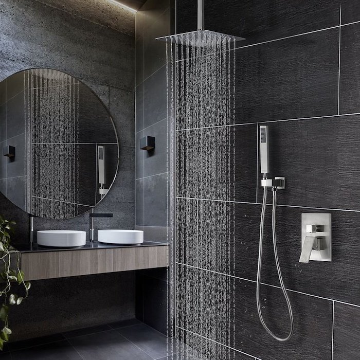 rain shower head, grey and black tiled walls and floor, bathroom designs for small spaces, floating wooden cabinet