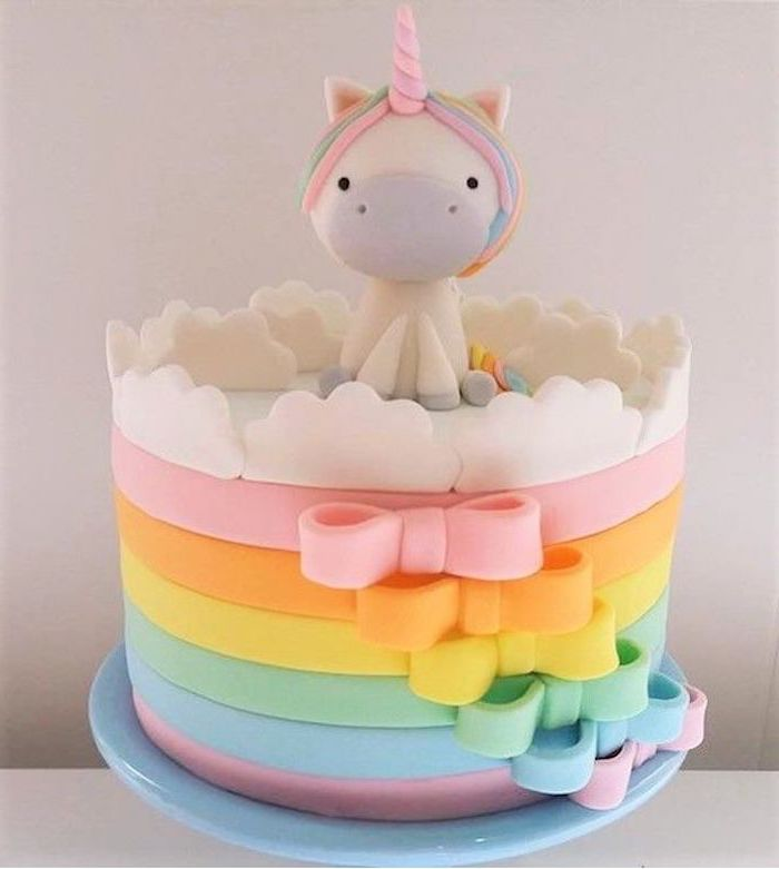 small unicorn with a pink horn, how to make a unicorn, rainbow coloured bows, white clouds