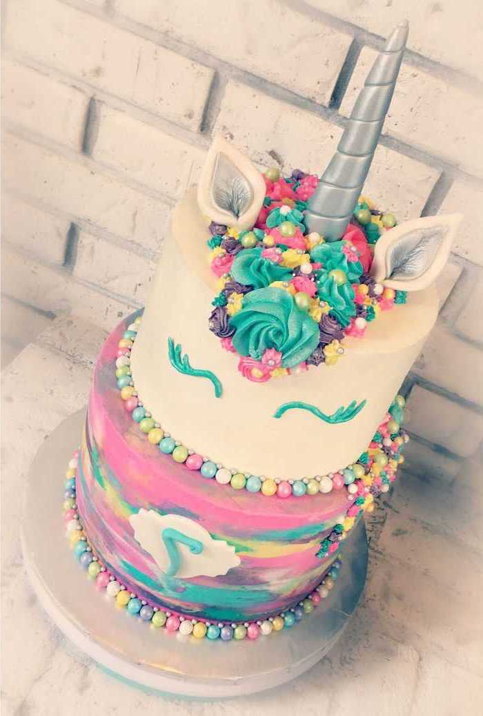 silver horn, how to make a unicorn, purple yellow and green roses on white fondant, rainbow coloured layer