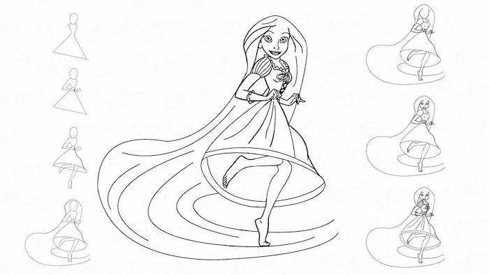 drawing of rapunzel, long hair and dress, how to draw a face, step by step tutorial
