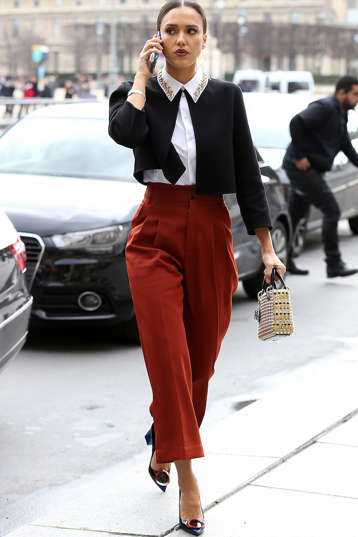dark red high waist trousers, white shirt, what is casual dress, black cardigan, black and red shoes