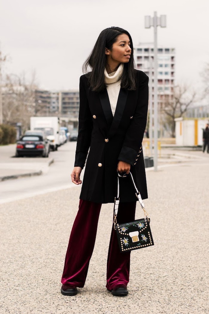 long black coat, red velvet pants, summer business casual, black shoes, black leather bag