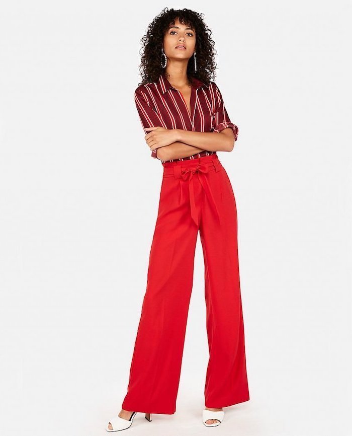 dark red striped shirt, red wide fit trousers, business casual for women, white open toe heels