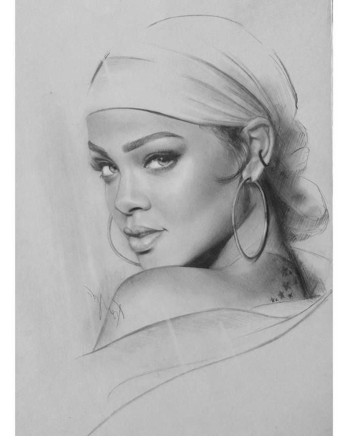 rihanna drawing, black and white sketch, large hoops earrings, how to draw a girl face