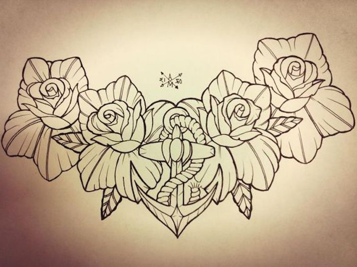 roses and an anchor, black and white drawing, tattoos for girls on hand, white background