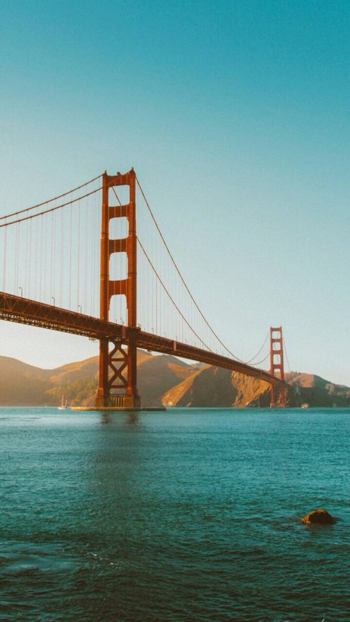 san francisco bridge, iphone wallpaper high quality, mountains and a river