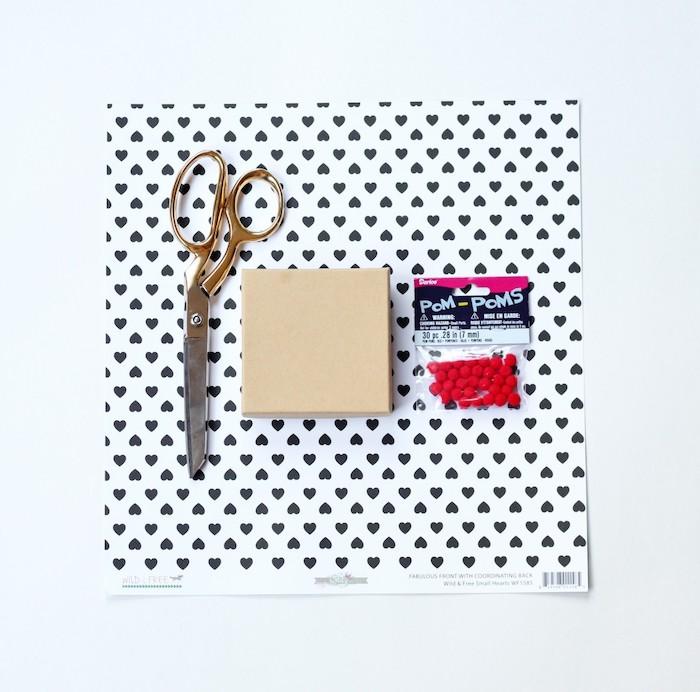 gold scissors, cardboard box, black-hearted printed paper, diy gifts for boyfriend