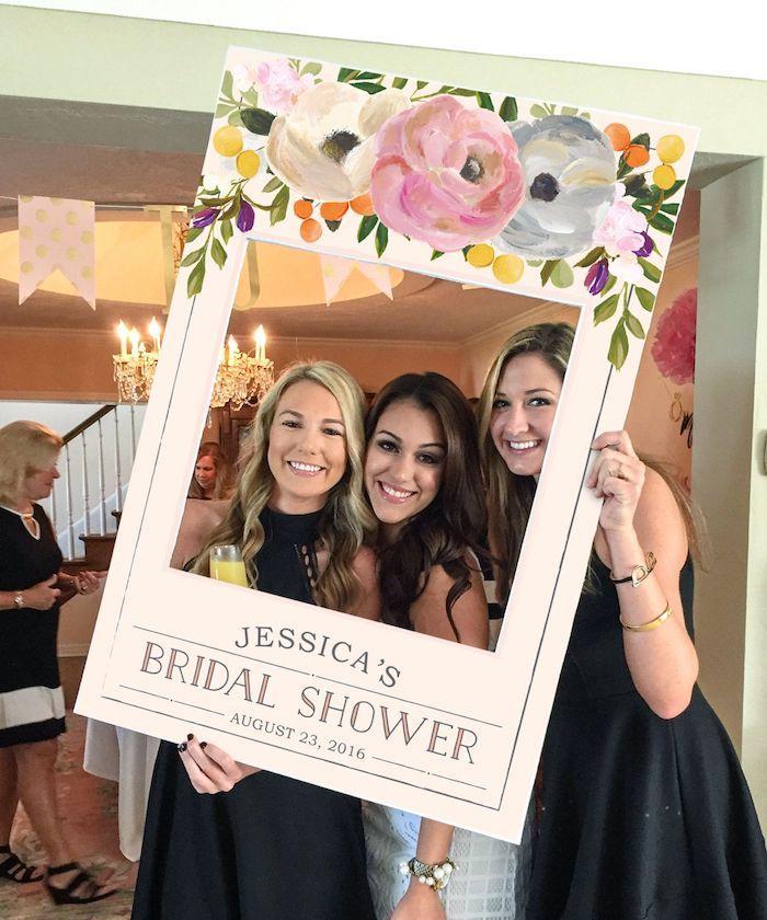 selfie frame, bachelorette games, bridal shower photo frame, black and white dresses