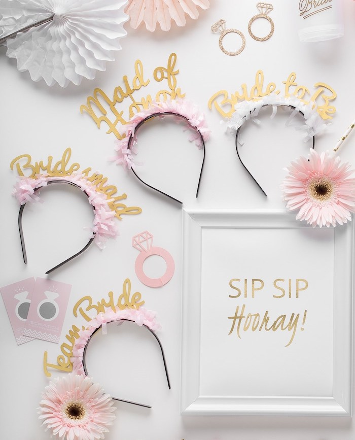 pink and black diadems, sip sip hooray photo frame, bachelorette ideas, white background