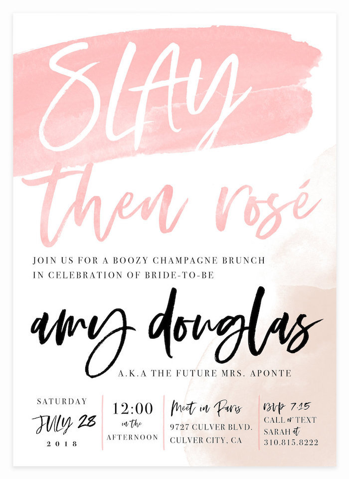 slay then rose, bachelorette party itinerary, bachelorette ideas, pink and blush hombre