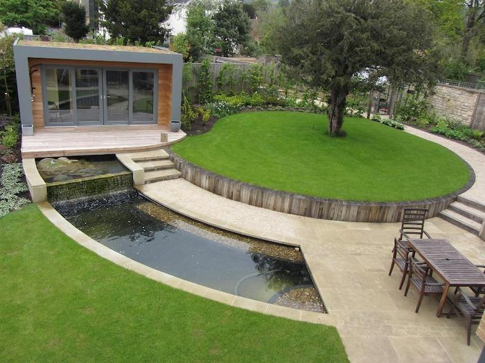 large round patch of grass, simple landscaping ideas, tall tree, small water fountain