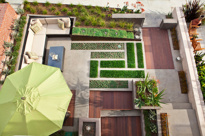 small geometrical patches of grass and bushes, front yard landscaping ideas with rocks, flower beds