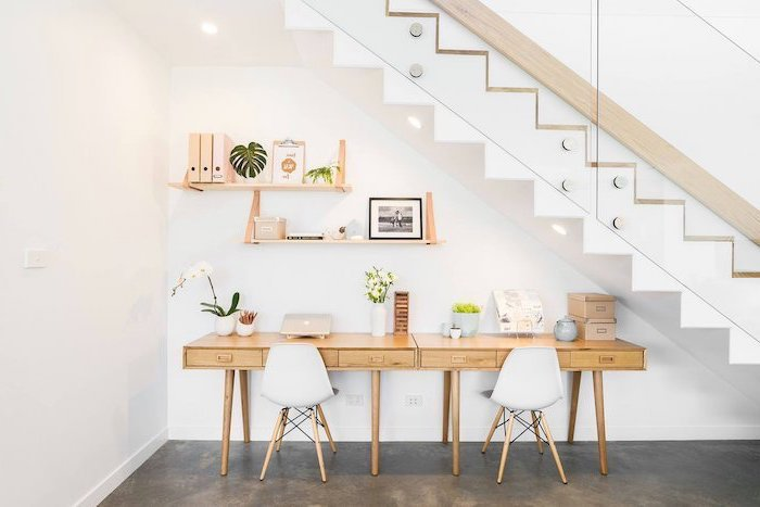 wooden desks with drawers, white chairs, small home office desk, wooden bookshelf, wooden staircase