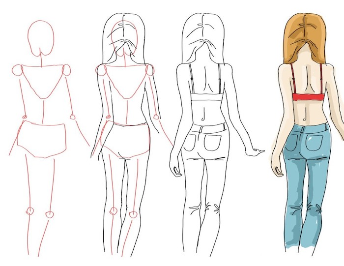 step by step tutorial, sketch of a female body, how to draw a face, white background