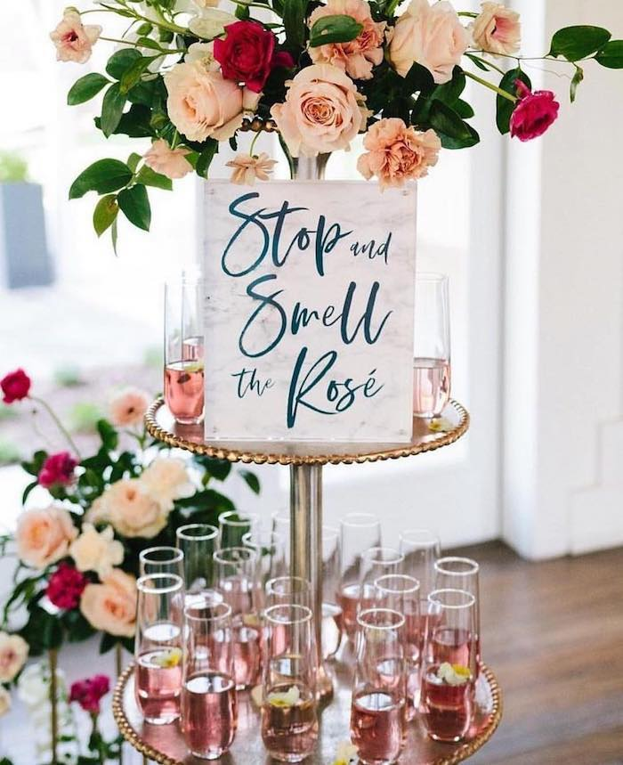 stop and smell the rose, bachelorette party games, cake stand, champagne flutes