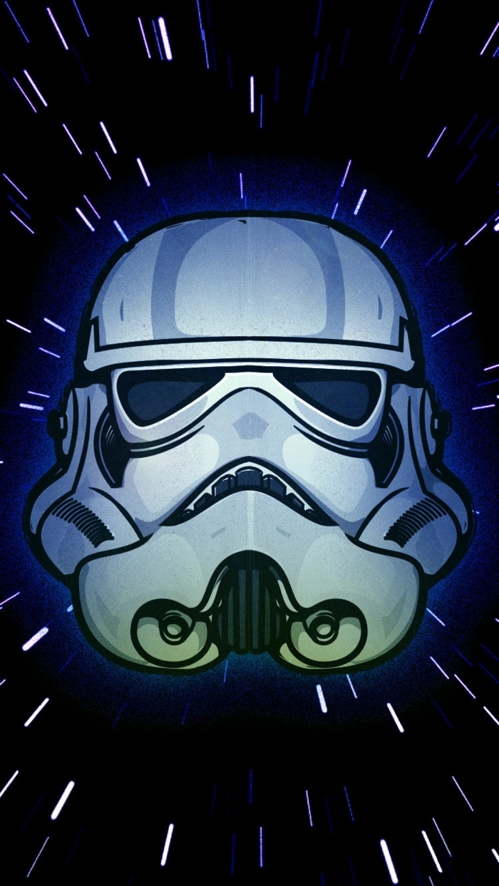 stormtrooper head, simple iphone wallpaper, black background, purple stars