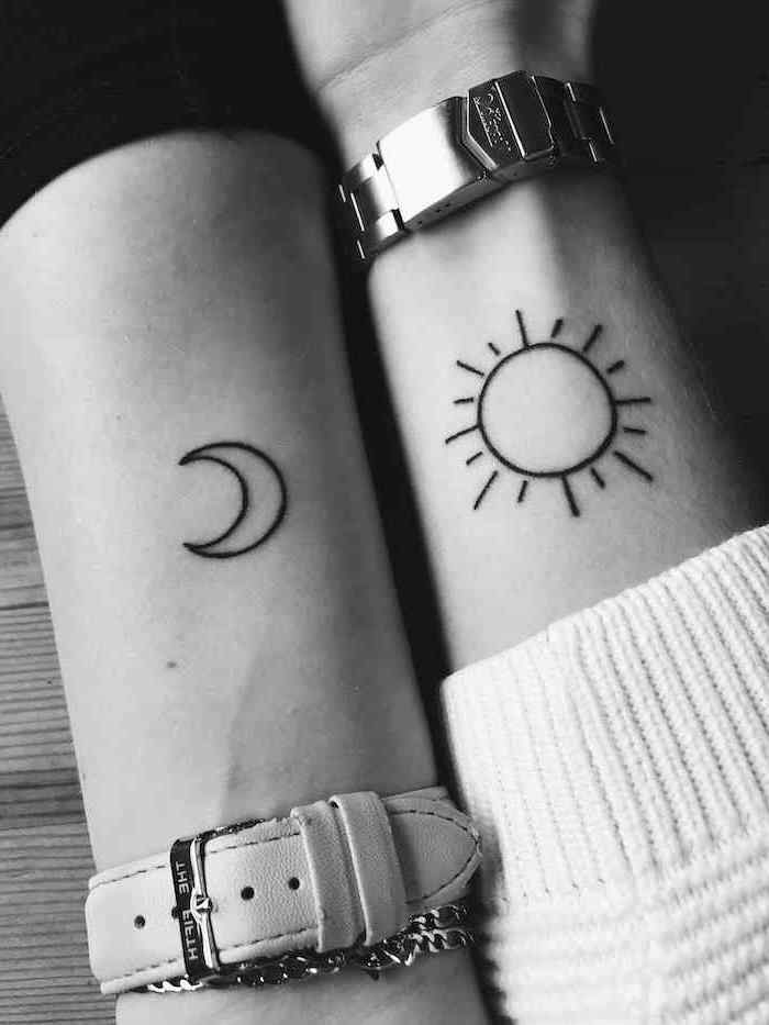 sun and moon, tattoos on the wrists, tattoos for girls, watches on the wrists