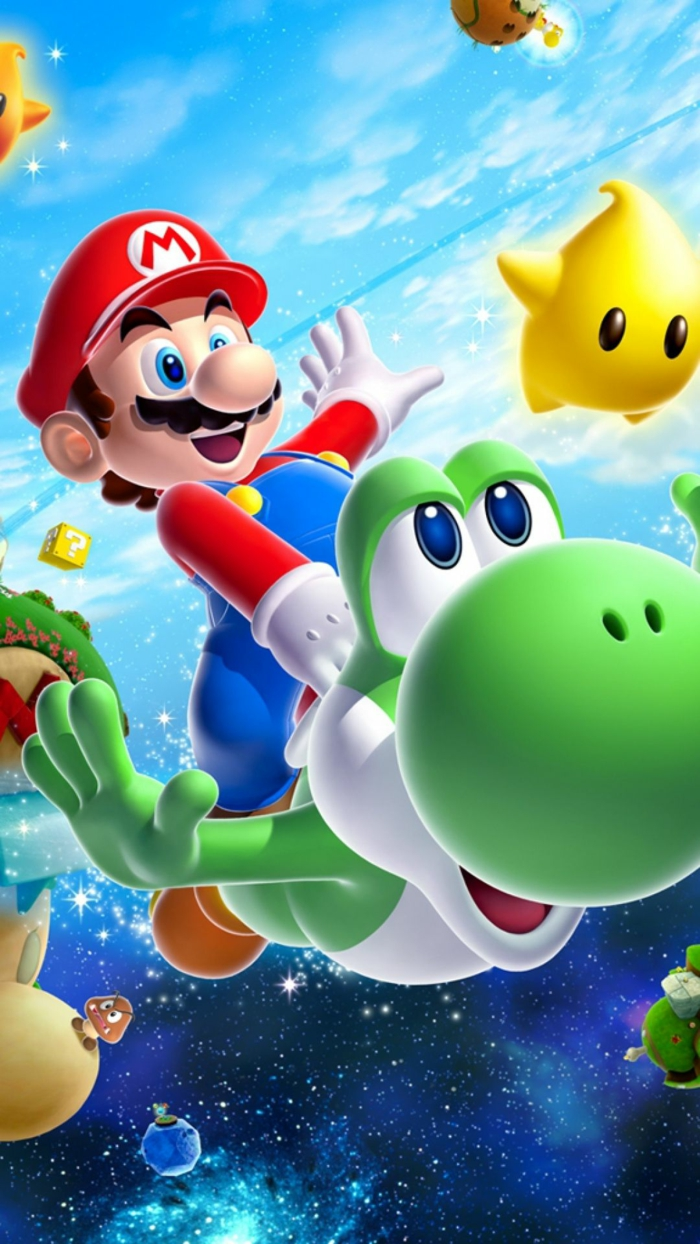 super mario bros, simple iphone wallpaper, blue starry sky, red hat, green animated frog