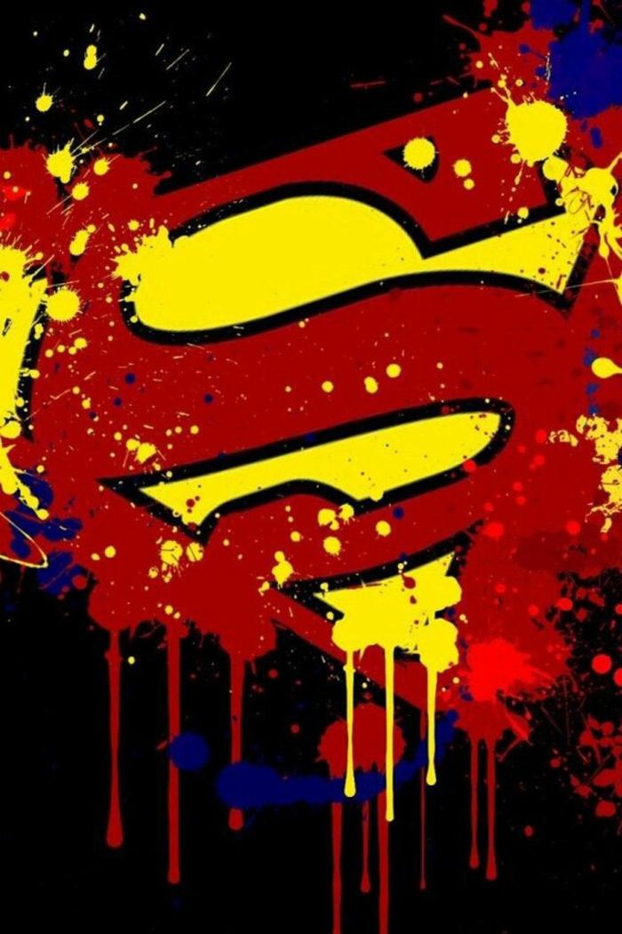 superman symbol in red and yellow, black background, simple iphone wallpaper