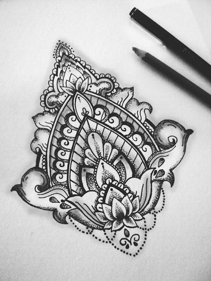 symmetrical lotus flowers drawing, tattoos for girls on hand, black and white sketch, black pencils