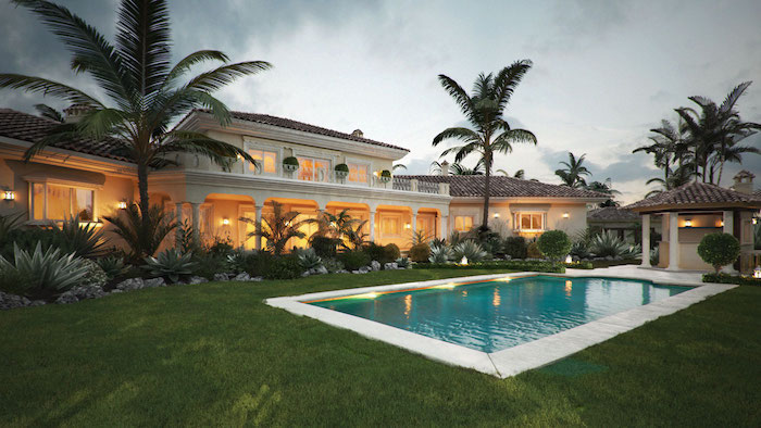 large patch of grass, tall palm trees, a patch of small bushes, backyard landscaping ideas, pool with lights in the middle