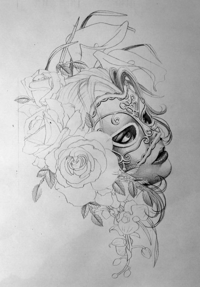 female face with a mask, tattoos for girls on hand, roses and flowers, white background
