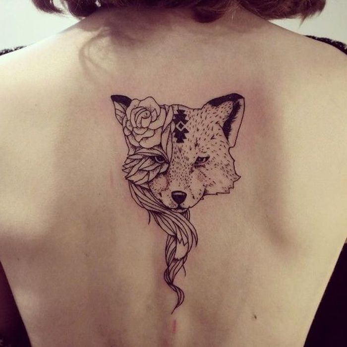 wolf head with roses, back tattoo, meaningful tattoo ideas, white background, black top