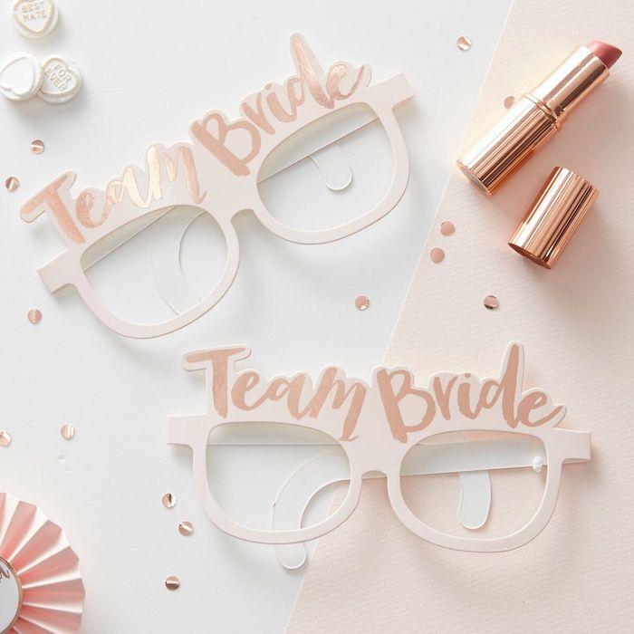 team bride blush glasses, golden lipstick, wild bachelorette party, white background