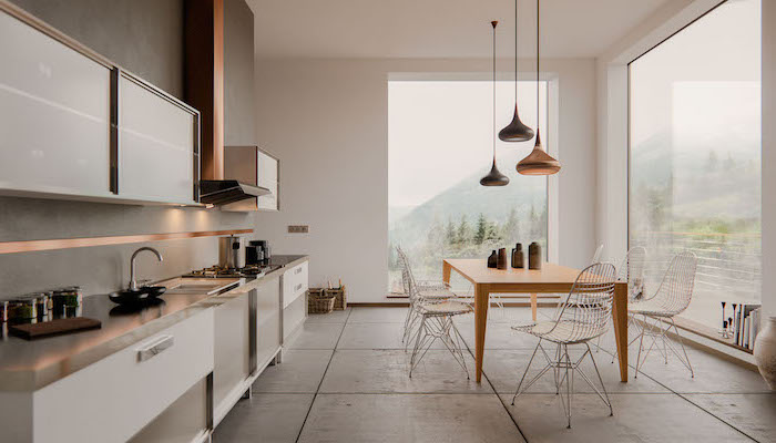 wooden dining table, white kitchen cabinets and drawers, grey counters, kitchen cabinets pictures, grey tiled floor