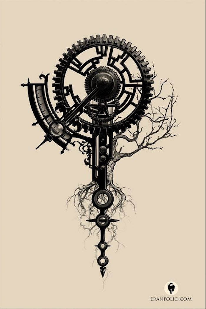 time mechanism, tree drawing, black and white sketch, meaningful tattoo ideas