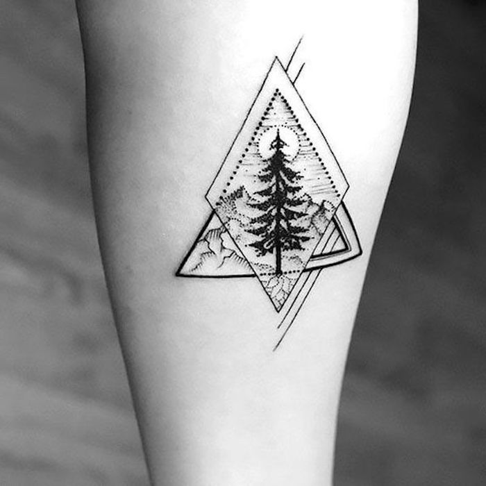 triangle shapes, trees and mountains, blurred background, tattoo motifs