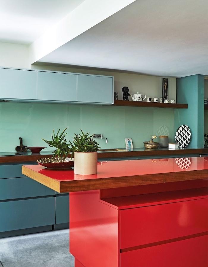 turquoise backsplash, blue cabinets, red kitchen island, kitchen cabinet design