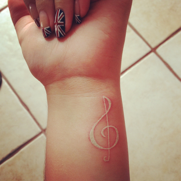 union jack nail polish, small tattoos for girls, nude music note, tattoo on the wrist