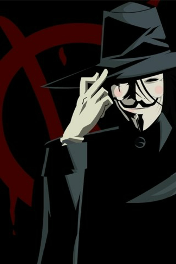 v for vendetta character, red v in the black background, awesome iphone wallpapers