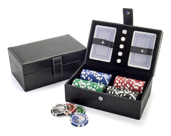 leather box, poker set with cards and chips, valentine's day gift ideas for boyfriend