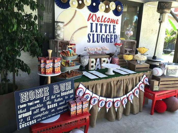 welcome little slugger banner, baseball themed decorations, baby shower ideas for boys, concessions on the table