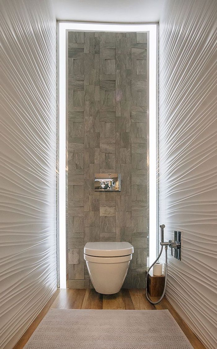 stone tiled wall, led lights, small bathroom decorating ideas, wooden floor, white 3d walls