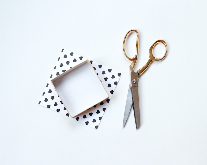 gold scissors, cardboard box covered with heart-shaped printed paper, diy gifts for boyfriend