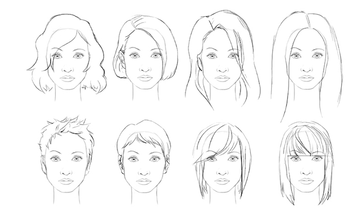 black sketch, white background, different female hairstyles, how to draw a face step by step