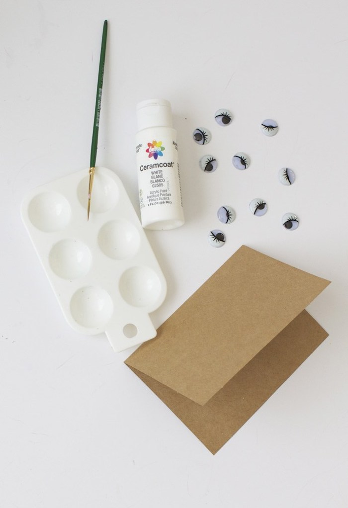 diy materials, white color palette, googly eyes, paint brush, valentine's day gifts for boyfriend