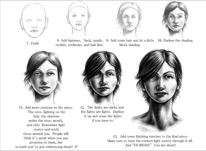 how to draw a girl, black and white sketch, female face with short hair