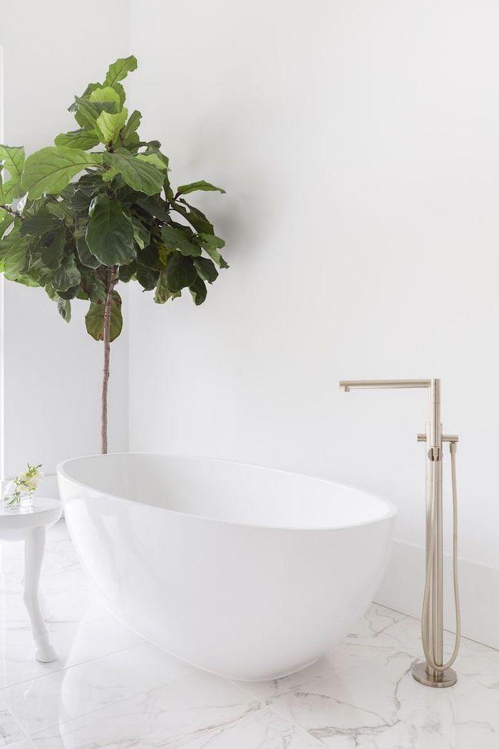 white wall, marble floor, white bathtub, metal water tap, bathroom ideas for small bathrooms