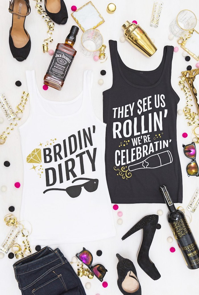 white bridin party top, black they see us rollin we celebratin top, bachelorette shirt ideas, shoes and alcohol around