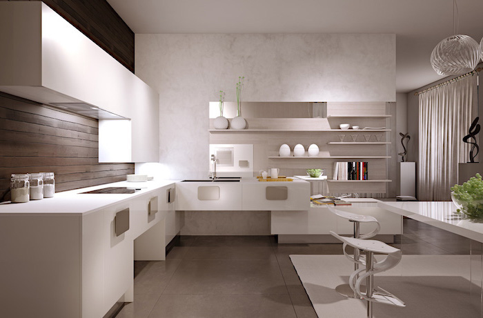 white marble wall, white cabinets and counters, grey floor, kitchen cabinets pictures, wooden backsplash